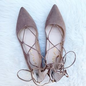 Unisa Suede Beige Lace Up Pointy Toe Ballet Flats